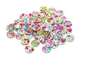 qinlee Madera botón de madera Botones Impreso flores y Hierba Estilo Madera Botones nähzubehör novedad artesanía Botones  100unidades  Color aleatorio