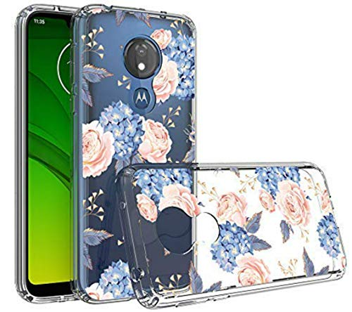 Moto G7 Power Case (US Version), Starhemei Antifouling Hard Acrylic Clear Back Shell & Soft TPU Border Reinforced Bumper Drop Protection Case Cover for Motorola Moto G7 Power XT1955 (Flower)