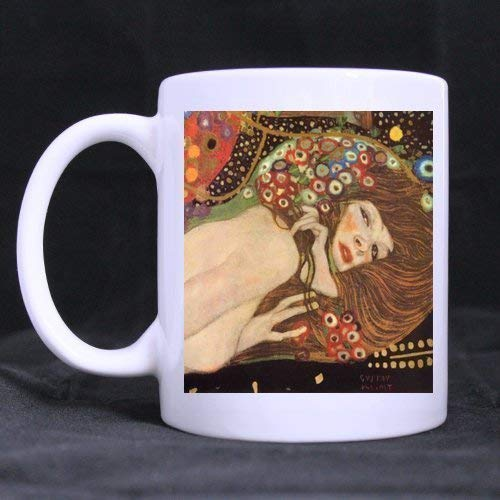 (PIHJE mugs Romatic Presents Gustav Klimt Water Serpents Tea/Coffee/Wine Cup 100% Ceramic 11-Ounce White Mug)