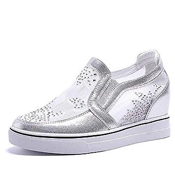 ZHZNVX Zapatos de Mujer PU (Poliuretano) Zapatillas de Deporte de Verano con cuña, Punta Redonda, Blanco/Plateado: Amazon.es: Deportes y aire libre