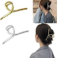 2 PCS Large Lazy Simple Headdress Metal Hairpin, Fashionable Hollow Non-Slip Metal Hair Claw Clip Barrettes fo