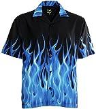 Benny's Blue Flames Bowling Shirt L