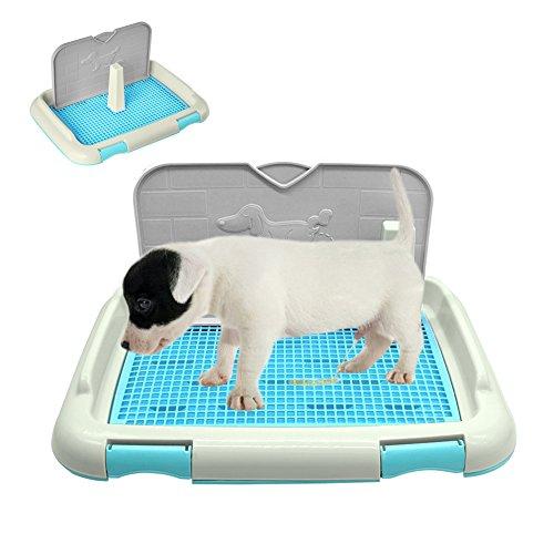 ZeHui Portable Pet Dog Cat Toilet Tray with Column Urinal Bowl Pee Training Toilet Blue M (Zehui Dog Pet)