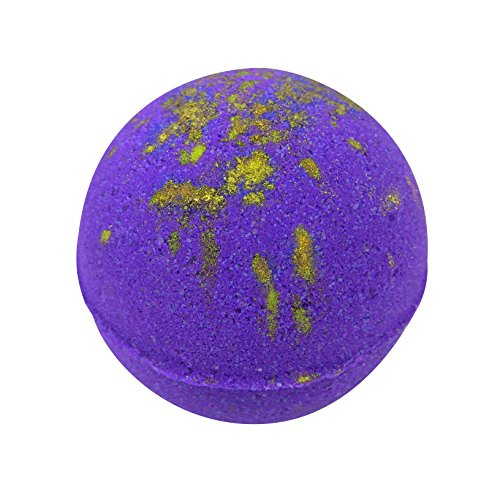 Purple Bath Bomb with Gold Mica - Large Bath Bomb 7.5 ounces - Anti-Aging - Epsom Salts - Coconut Oil - Kaolin Clay - Skin Moisturizers - Aromatherapy Bath - Add to Bubble Bath (Amethyst Lagoon)