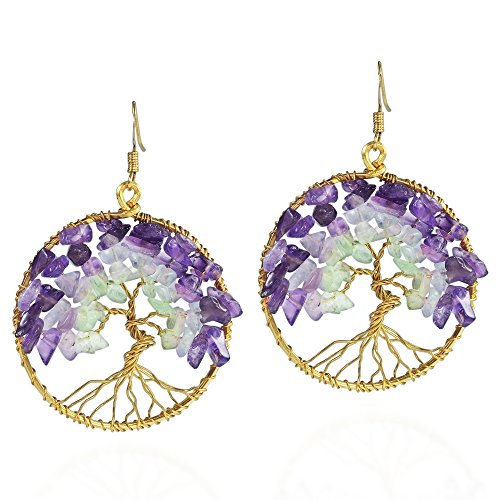 Eternal Tree of Life Purple Fluorite Green Quartz Stone Branch Brass Dangle Earrings (Fluorite Purple Earrings)