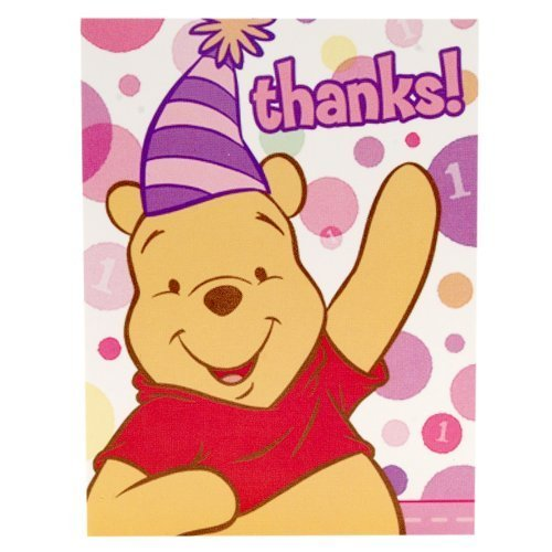 Pooh's First Birthday Girl Party Thank You Cards, 8ct