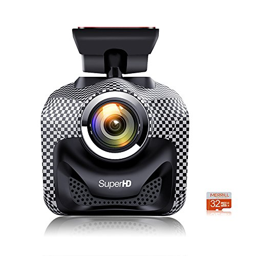 "UPC 723576314349, MERRiLL Dash Cam WiFi Mini Car Camera 1.5"" LCD Super HD 1296p 170° Wide Angle with G-Sensor, WDR, Loop Recording, black mesh color"
