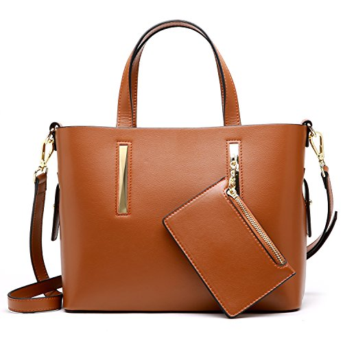 S-ZONE Leather Purses and Handbags for Women Shoulder Bag Satchel with Wallet (Brown) by S-ZONE