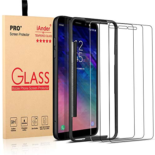 iAnder [3-Pack] Screen Protector Compatible Galaxy A6(2018 Release only) with [Frame Easy Installation Tray],Tempered Glass Screen Protector for Galaxy A6