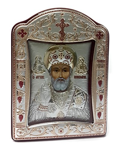 Saint St Nicholas НИКОЛАЙ Silver 925 Icon Greek Orthodox Picture Gold Plated 8.8