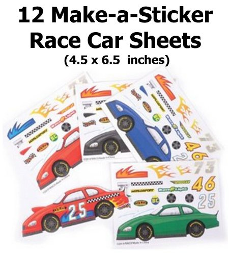 ~ 12 ~ Make-a-Race Car Sticker Sheets ~ New