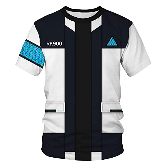 3b4f0cdffc1 Leezeshaw Unisex 3D T-Shirts Mens Casual Become Human Connor Printed Short  Sleeve T-
