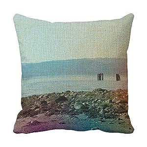 lettert Android Decoración del hogar almohadas playa lino almohadas decorativas almohada de 20x 20