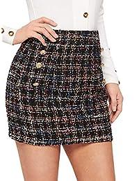 WDIRARA Mini Falda Corta de Tweed con Doble Pecho por Encima de la Rodilla, Cintura Alta, para Mujer