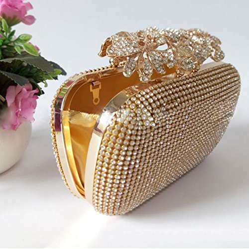 Bridal Bag Evening Clutch Prom Unique Gold Party Purse Meaeo Rhinestone wIq8ZHxxS