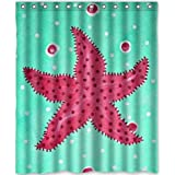 Custom Unique Design Beautiful Starfish Waterproof Fabric Shower Curtain, 72 by 60-Inch
