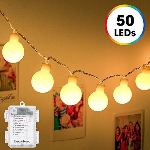 Globe-String-Lights-DecorNova-164-Feet-50-LED-Battery-Operated-Fairy-String-Lights-with-3-AA-Battery-Case-Remote-Control-8-Modes-for-Christmas-Party-Wedding-Bedroom-Decorations-Warm-White