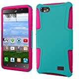 Huawei Raven LTE H892L - Aqua Mint Teal and Hot Pink [Impact Resistant] Dual Layer Polycarbonate-Silicone Slim Case Cover and Atom LED
