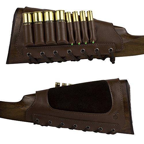 BronzeDog Leather Rifle Buttstock Cartridge Shell Holder 12, 16 Gauge, 7.62 calibers...