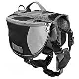 Pidsen DayPak Dog Backpack Adjustable Saddlebag Style Travel Hiking Camping Pack (M, Black)