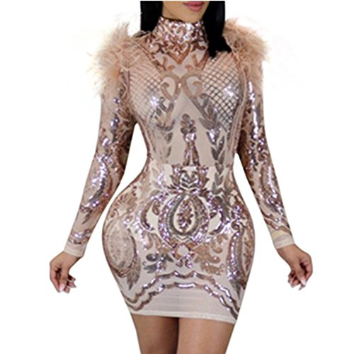 VIVOSKY Women Sexy Dress Sequined Bodycon Bandage Club Dresses (XL, Style B :Rose Gold)