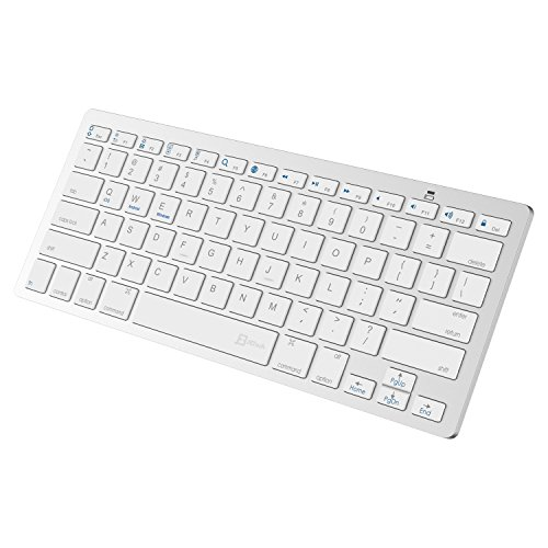 JETech Bluetooth Wireless Keyboard for iPhone, iPad Pro, iPad Air, iPad Mini, iPad 2/3/4, Galaxy Tab, Mac, Windows, and any bluetooth enabled device (White) - 2156