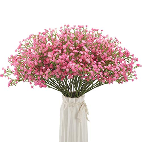 Bomarolan Artificial Baby Breath Flowers Fake Gypsophila Bouquets 12 Pcs Fake Real Touch Flowers for Wedding Decor DIY Home Party(Pink) -