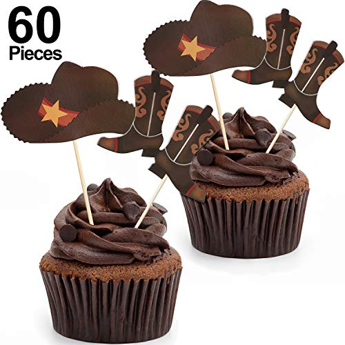 60 Pieces Cowboy Hats and Boots Cupcake Toppers Western Cowboy Cupcake Toppers Picks for Western Theme Party Birthday