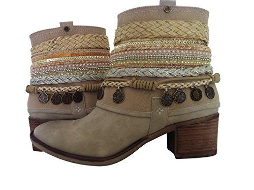 Sneaker Stiefeletten Trachtenschuhe Damen Schuhe Beige Elfenbein (40)