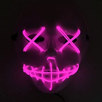 JYYC Light Up Funny Masks LED Máscara de Halloween The Purge Election Year Gran Festival Cosplay Disfraces Suministros Party Masks para Hallowee-Pink: ...