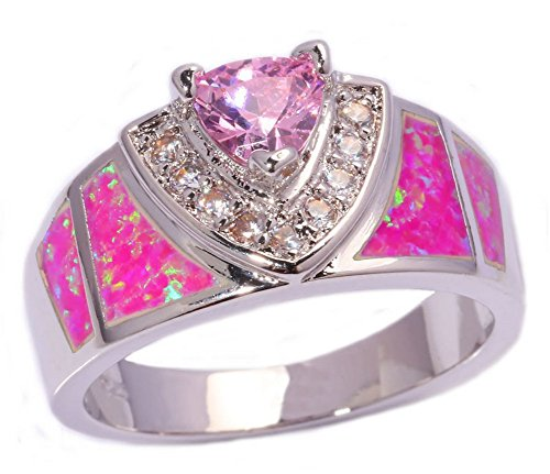 [PSRINGS Beautiful Jewelry Pink Fire Opal Pink Zircon Cubic Zirconia Silver Ring 7.0] (Ninja Turtle Nose Costume)