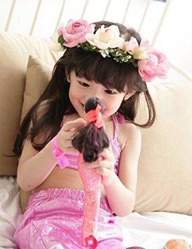 Lovely Little Girls Mermaid Swimsuit Bikini Swimwear 3pcs Set (Pink)