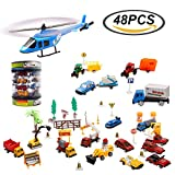 Matchbox Construction Cars Diecast Racer Tow Truck Back to School Educational Vehicle Collections Boys Toys Set for Kids Birthday, Party Favors, Goodie Bag Stuffers with Durable Container - 48 pcs