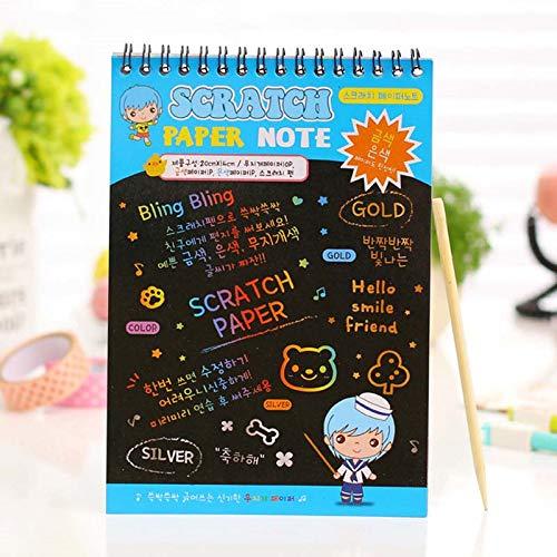 Ruluti 3PC Blocs De Notas Kawaii del Arco Iris De Colores para Ni/ñOs Escolares De Scratch Arte Pintura Dibujo Kit De Papel del Cuaderno Y De Oficina Suppplies del