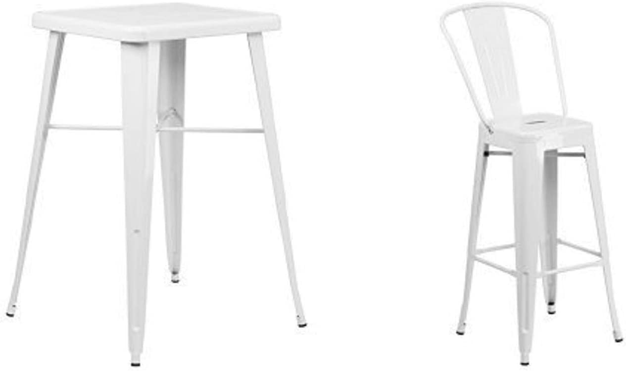 Flash Furniture 23.75'' Square White Metal Indoor-Outdoor Bar Table Set with 2 Stools with Backs