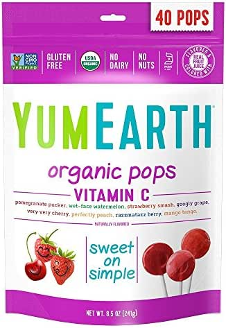 YumEarth Organic Vitamin C Lollipops, 40 lollipops per Pack, 8.5 Ounce (Pack of 1)