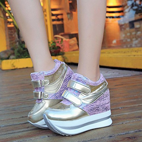Transer® Damen Höhe Zunehmend Mokassins Casual Schuh Mesh Atmungsaktiv Gummi Massage Plattform Loafer Schuhe (Bitte eine Nummer größer bestellen)