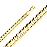 TGDJ 14k Yellow Gold 14 mm Cuban Concave Chain - 9/24/26'' (26 Inches)