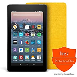 All-New Fire 7 Protection Bundle with Fire 7 Tablet (8 GB, Black), Amazon Cover (Canary Yellow) and Protection Plan (3-Year)