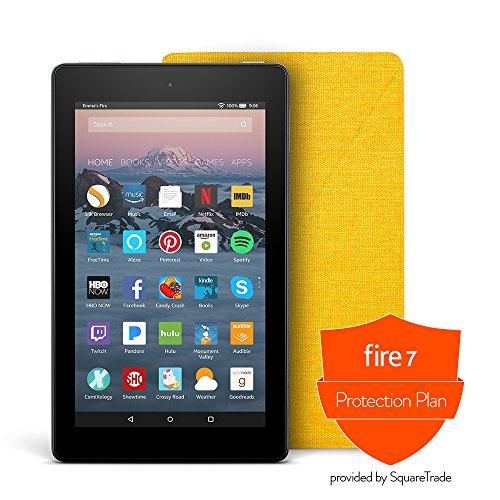 Fire 7 Protection Bundle with Fire 7 Tablet (8 GB, Black), Amazon Cover (Canary Yellow) and Protection Plan (2-Year)