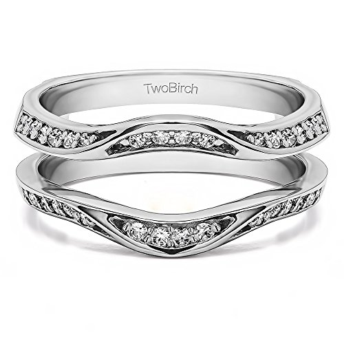 0.44 ct. Cubic Zirconia Fancy Classic Style Contour Ring Guard Enhancer Wedding Band in Sterling Silver (3/8 ct. twt.)