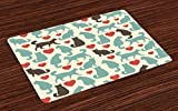 Lunarable Cat Place Mats Set of 4, Pattern with Cats Hearts Happy Walking Shape Kitty Domestic Animal Pets, Washable Fabric Placemats for Dining Room Kitchen Table Decoration, Turquoise Red Dark Taupe