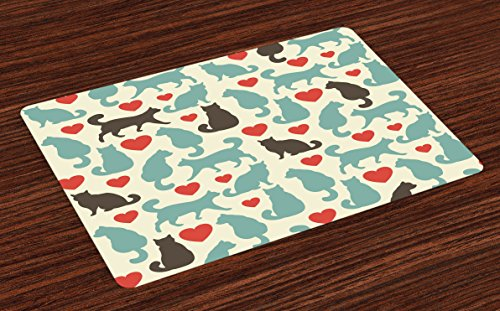 Lunarable Cat Place Mats Set of 4, Pattern with Cats Hearts Happy Walking Shape Kitty Domestic Animal Pets, Washable Fabric Placemats for Dining Table, Standard Size, Turquoise
