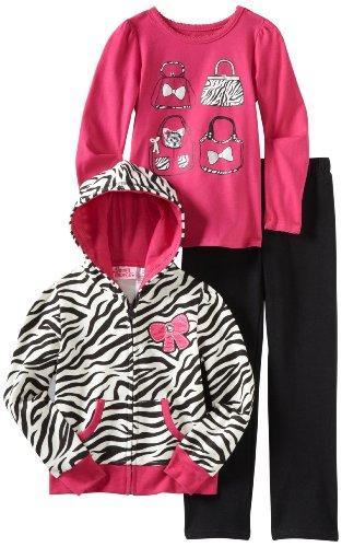 Young Hearts Little Girls' 2 Piece Zebra Print Pant Set