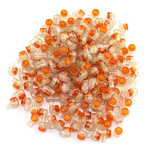 (DGZZI 150PCS Waterproof Gel-Filled Orange Clear Button Telephone Wire Connectors UY Butt Splice Connector K1 Network Cable Terminals)