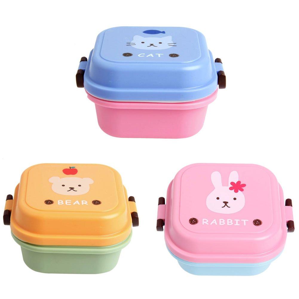 ZJL220 Cute Cartoon Lunch Box Almacenaje de Contenedores Port/átil Bento Spoon School Pink