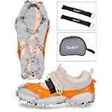 Crampons Traction Cleat Anti-Slip Shoe Gripper for Climbing Fishing Hunting Jogging Walking on Ice Snow with 19 Stainless Steel Spikes Double-Breasted Hook Nylon Sticky Straps Portable Storage Bag