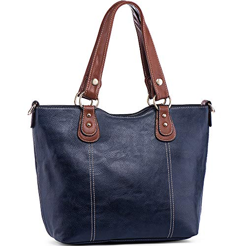 UTAKE Handbags for Women Top Handle Shoulder Bags PU Leather Tote Purse Meduim Size Dark Blue ()