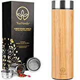 Bamboo Tea Tumbler with Stainless Steel Tea Infuser - 17 oz Double Wall Vacuum Insulated Thermos - Leak Proof & BPA-Free Travel Mug for Loose Leaf Tea and Coffee. Great Gift for Tea Lovers