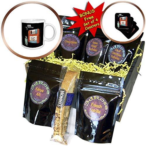 3dRose Sven Herkenrath Nerd - Retro Graphic with USB Stick and Floppy Disk Vintage Nerd - Coffee Gift Basket (cgb_308581_1)